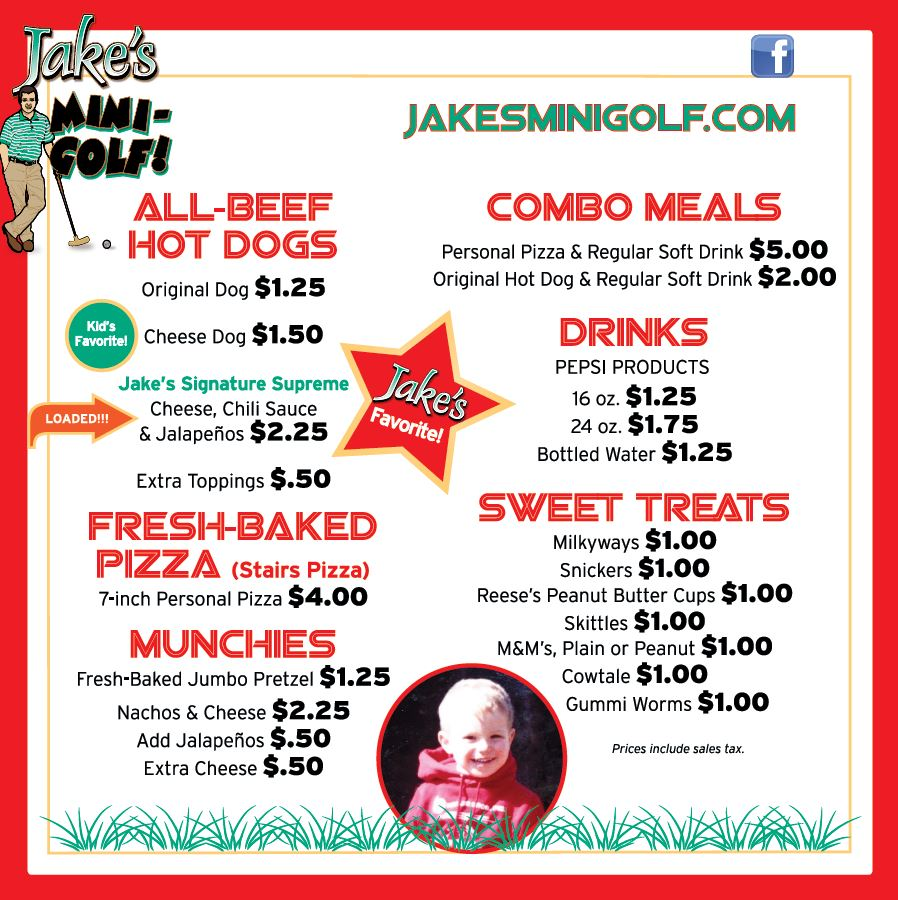 jakes mini golf menu